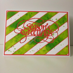 "Seasons Greetings 5""x7"" Card Red - White, Green Washi - Handmade"