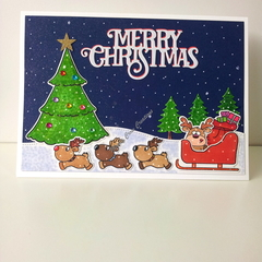 "Christmas 5""x7"" Card  Reindeer and Sleigh -  Handmade"