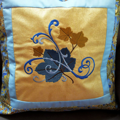 Embroidered cushion cover, blue and gold scrolls and leaves, Autumn decor