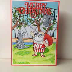 "Christmas 5""x7"" Card Aussie Santa - Sydney Opera House - Handmade"