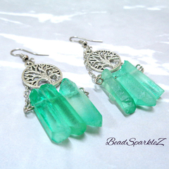 Silver Tree of Life and Green Quartz Earrings, Gemstone Earrings