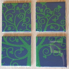 Heart tree resin art coasters