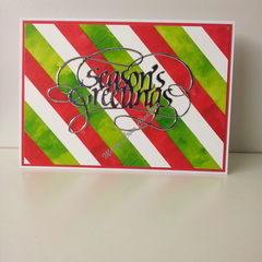 "Seasons Greetings 5""x7"" Card Silver Foil - White, Green and Red Washi - Handmade"