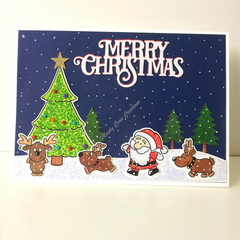 "Christmas 5""x7"" Card Santa and Reindeer - Handmade"
