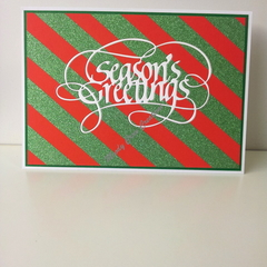 "Seasons Greetings 5""x7"" Card White - Red with Green Washi - Handmade"