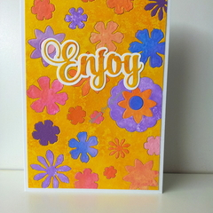 "Enjoy 5""x7"" Card Flowers Yellowy Sentiment Yellow Mustard Background - Handmade"