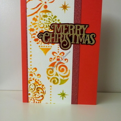 "Christmas 5""x7"" Card Ornaments Red Glitter - Handmade"