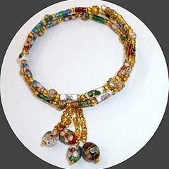 Cloisonne memory wire bracelet