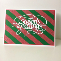 "Seasons Greetings 5""x7"" Card White - Green, with Red Washi - Handmade"