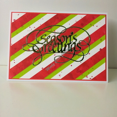 "Seasons Greetings 5""x7"" Card Green Foil - White, Red and Green Washi - Handmade"