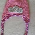 "Pink ""Princess""  earflap hat, beanie. Hand made crochet. Child 2-3yr"