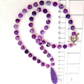 Soft purple carved tridacna and cracked frost agate necklace.