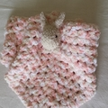 Bunny or Teddy baby lovey blanket, apricot, beige & cream mix