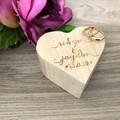Personalised Heart Ring Box, Rustic Style  Wedding Ring Box Keepsake