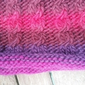 Hand knitted twist pattern hand muff pure wool in purples and pinks ON SALE!!!!