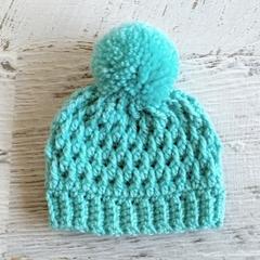 NEWBORN Aqua Crocheted Baby Beanie with Pompom