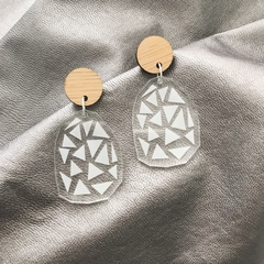 Clear Geometric Dangles with Bamboo Top