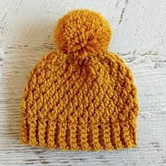 NEWBORN Mustard Crocheted Baby Beanie with Pompom