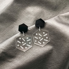 Clear Geometric Dangles with Black Hex Top