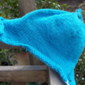 knitted beanie with topknot and rolled ears. Bright blue, acrylic ON SALE!!!