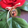 Photo Frame Wedding Bouquet Charm, Memory of Wedding Bouquet Photo Gold Charm