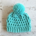 NEWBORN Aqua Crocheted Baby Beanie with Pompom