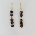 Black drop earrings gold