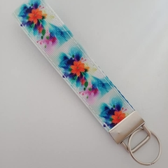 Blue and orange flower key fob wristlet