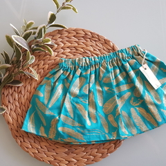 Turquoise & Gold Feather Skirt.