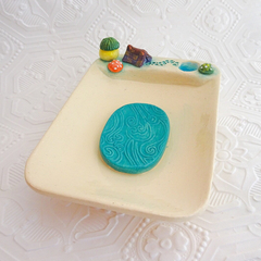 Handmade Ceramic Soap Dish with Toadstools, Tiny Tent and Pond