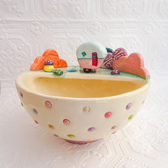 Medium Ceramic Planter with Tiny Caravan and Toadstools