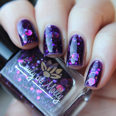 "Nail polish - ""Cosmic Forces"" A purple base with assorted holographic glitters"