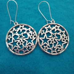 Silver round star filigree dangle earrings