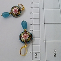 Enamel cloisonne and Aquamarine earrings.