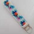 Blue and orange flower key fob wristlet