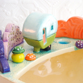 Medium Ceramic Planter with Tiny Caravan and Toadstools