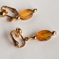 Amber drop earrings, gold clip on