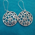 Silver round star filigree dangle earrings