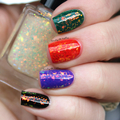 "Nail polish - ""All The Feelings"" Red to green colour shifting iridescent glitter"