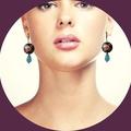 Enamel cloisonne and Aquamarine earrings.
