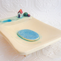 Handmade Ceramic Soap Dish with Toadstools, Tiny House and Pond