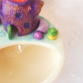 Mini Ceramic Light-Up Planter with Tree Stump and Toadstools