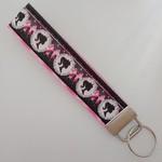 Pretty black and pink woman print key fob wristlet