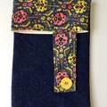BUSHFIRES Yellow and pink floral liberty print denim coin purse pouch