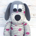 'Dusty' the Sock Dog - grey with burgundy spots - *MADE TO ORDER*