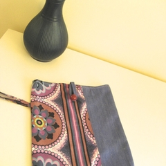 BUSHFIRE Purple blue white retro print iPad sleeve paired with brushed denim and