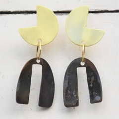 Brass & Saucepan lid metal Earrings