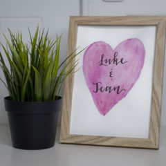 Framed Valentines Custom Watercolour Sign FREE POSTAGE