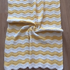 Yellow and White Ripple Baby Blanket
