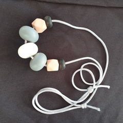 Silicon bead necklace - BPA free - peach, black, grey and white - adjustable